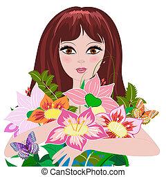 mazzolino, ragazza, fiori