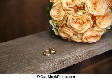 mazzolino, rosa, anelli, matrimonio