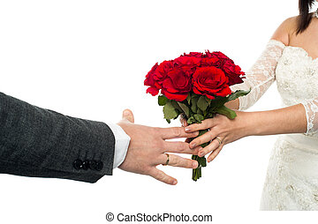 mazzolino, rosa, sposo, offerta, sposa