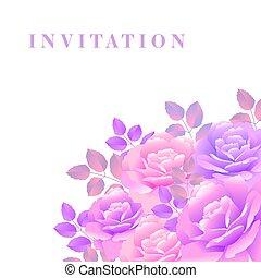 mazzolino, rosa, vettore, illustrazione