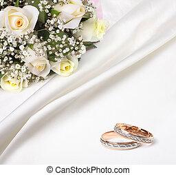 mazzolino, rose, anelli, matrimonio