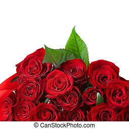 mazzolino, rose, bordo, rosso