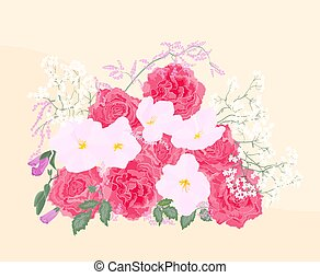 mazzolino, rose, fondo