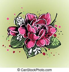 mazzolino, rose, luminoso, bucanevi, piccolo