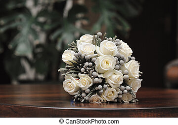 mazzolino, rose, nuziale, bianco