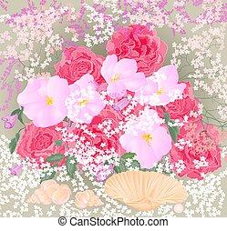 mazzolino, rose, orchidee