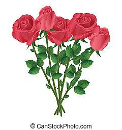 mazzolino, rose, rosso, celebrazione