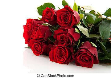 mazzolino, rose, rosso