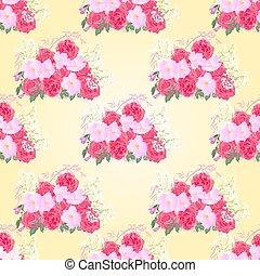 mazzolino, rose, seamless, struttura