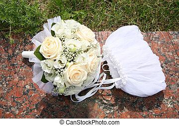 mazzolino, sposa, borsa
