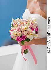 mazzolino, sposa, fiori bianchi, vestire