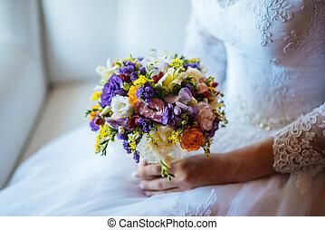 mazzolino, sposa, fiori, matrimonio, mani