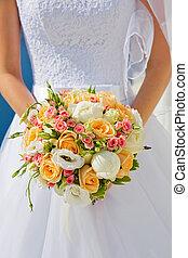 mazzolino, sposa, flowers., vestire, bianco