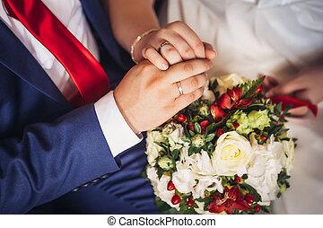 mazzolino, sposa, mani, sposo