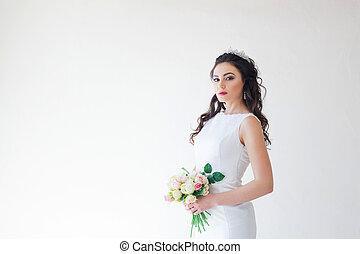 mazzolino, sposa, matrimonio, fiori bianchi, vestire