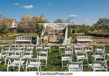 mazzolino, sposa, sedia, decorato