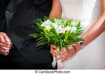 Mazzolino, sposa, sposo, presa a terra, matrimonio