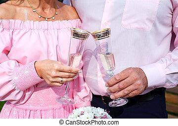 Mazzolino, sposo, sposa, presa a terra, nuziale,  champagne, occhiali