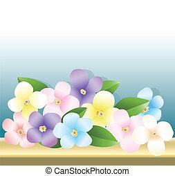 mazzolino, tavola, fiori