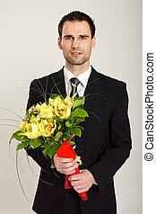 mazzolino, uomo affari, orchidea