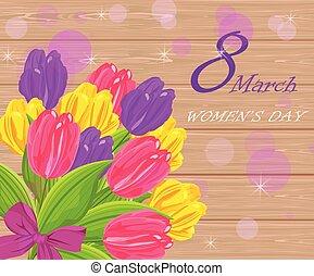 mazzolino, vendemmia, tulipano, vettore, illustrazioni, fiori, giorno, scheda, donne