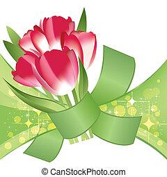 mazzolino, vettore, rosso, tulips