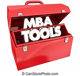 mba, attrezzi, toolbox, padroni, affari, amministrazione, grado, abilità, 3d animation