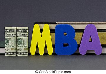 mba, grau, é, um, educação, investme