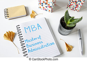 MBA Master of Business Administration written in notebook