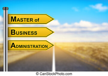 MBA or Master of Business Administration words on yellow road sign