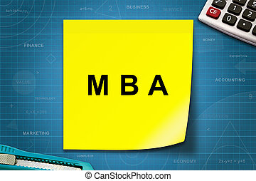 MBA or Master of Business Administration word on yellow note