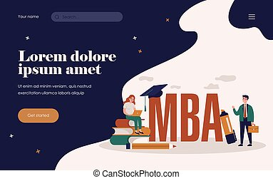 MBA school students. Person using laptop on stack of books near graduation cap, studying business administration and management. Flat vector illustration for academic education, knowledge concept