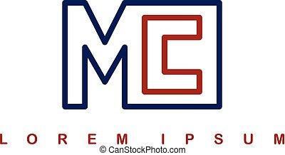 mc alphabet letter art theme logo logotype vector