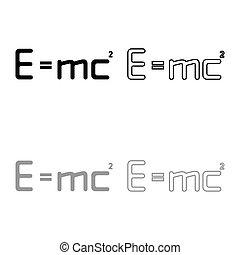 mc, illustration, gris, ensemble, icône, énergie, noir, relativité, e, style, contour, couleur, plat, education, image, 2, formule, droit & loi, signe, carré, physique, vecteur, égal, théorie, concept