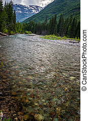 McDonald Creek in Glacier National Park in the Rocky Mountains of Montana.