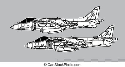 McDonnell Douglas AV-8B HARRIER II. Outline vector drawing