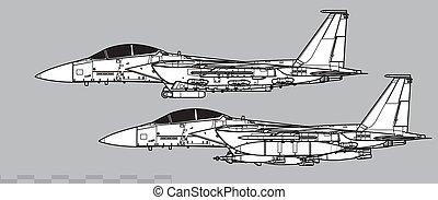 McDonnell Douglas F-15E Strike Eagle. Outline vector drawing