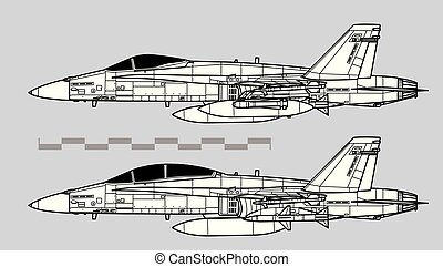 McDonnell Douglas F-18 HORNET. Outline vector drawing