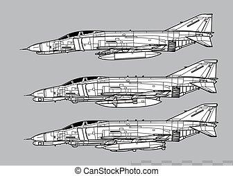 McDonnell Douglas F-4E PHANTOM II, F-4G Wild Weasel. Outline vector drawing