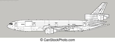 McDonnell Douglas KC-10 Extender. Vector drawing of aerial refueling tanker and transport aircraft.