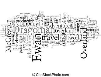 mcgregor, overland, szöveg, kaland, hiány, wordcloud, háttér, fogalom, jön, ewan