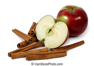 mcintosh apples and cinnamon stick isolated on white...