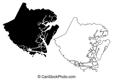 McIntosh County, Georgia (U.S. county, United States of America, USA, U.S., US) map vector illustration, scribble sketch McIntosh map