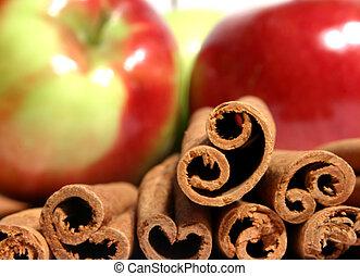 mcintosh, maçãs, e, canela