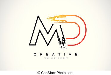 MD Creative Modern Logo Design with Orange and Black Colors....