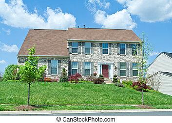 md, család, épület, külvárosi, egyedülálló, elülső, otthon, tégla