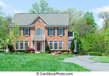 md, família, casa, suburbano, único, frente, lar, tijolo