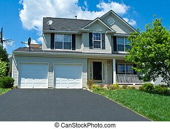 md, família, casa, suburbano, único, siding, vinil, lar