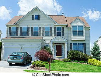 md, familia , apartadero, solo, vinilo, frente, hogar, vista
