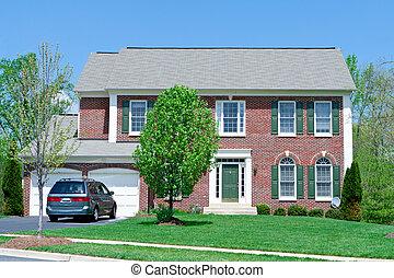 md, famille, maison, suburbain, unique, devant, maison, brique